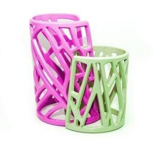 Mazinga bracciali in alluminio-h100 e h70-verniciato-fucsia e verde