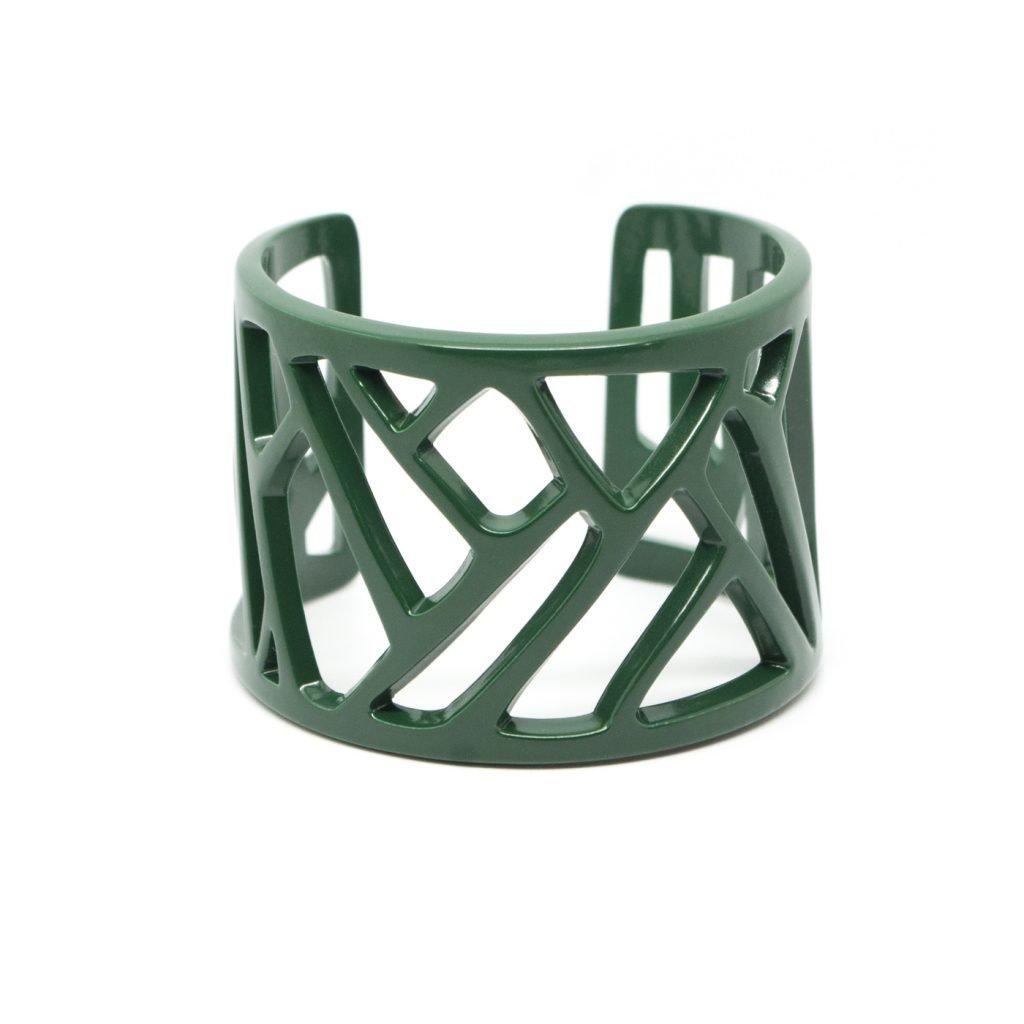 Mazinga-bracciale-alluminio-h45mm-verniciato-verde-petrolio