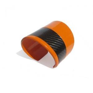Bracciale-SKIN-alluminio-verniciato-arancio-e-fibra-di-carbonio
