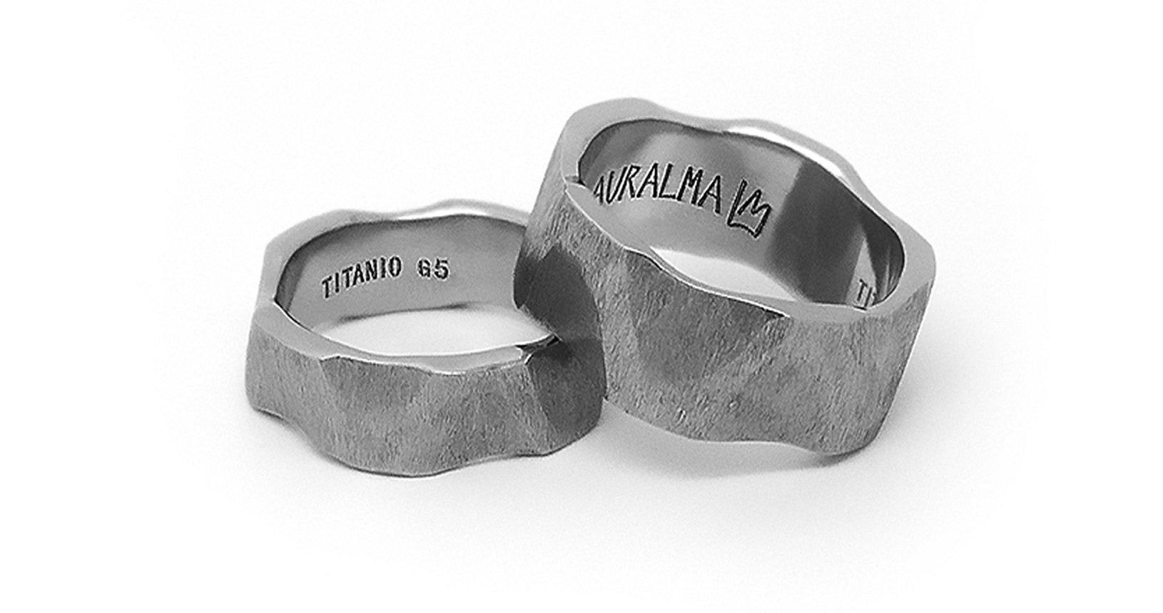 Anelli STONE PENTAGON titanio scolpito a mano-Auralma
